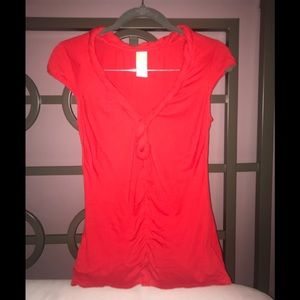 Bright red knotted detail cap sleeve blouse